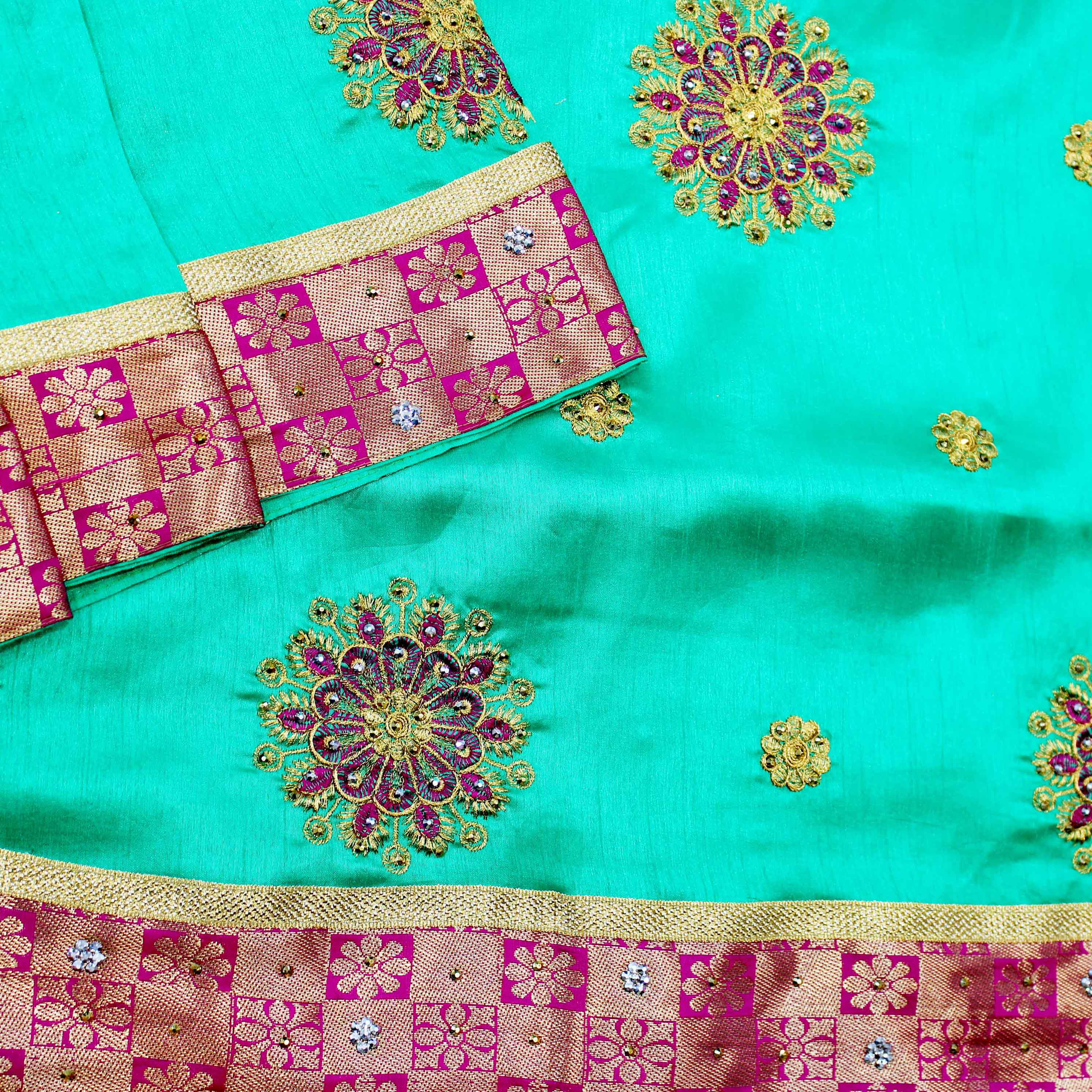 Mixture Of Turquoise Green And Pink Fancy Silk