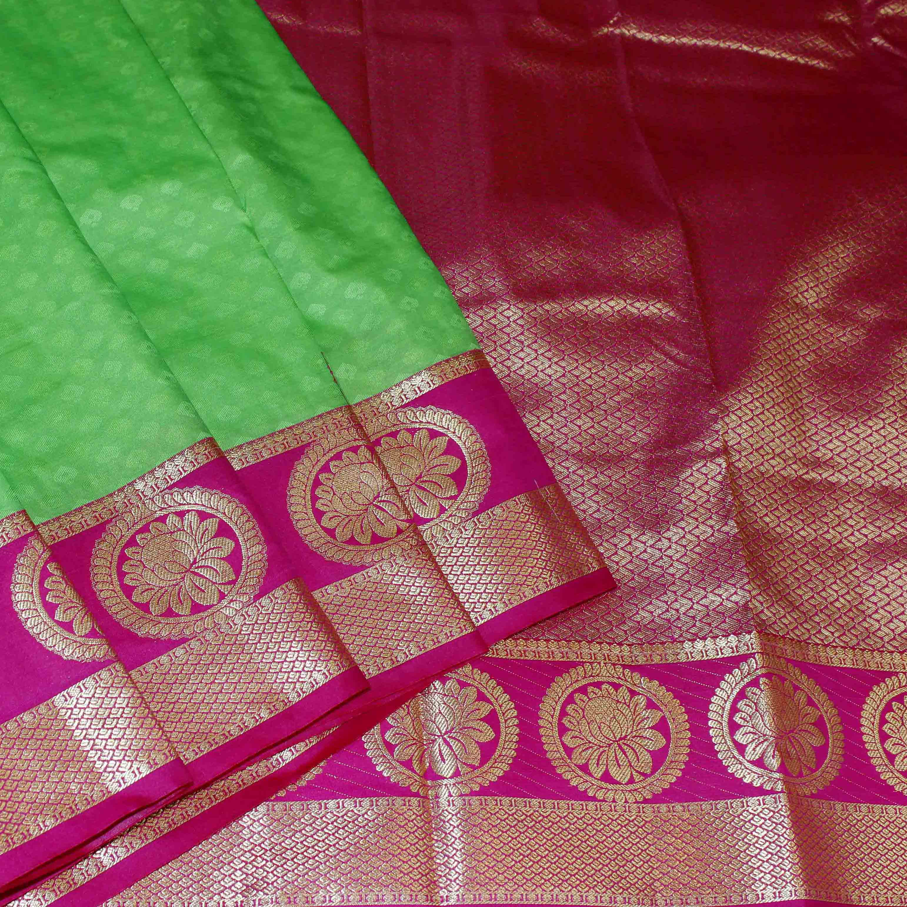 Mixture of green and red silk with golden jari