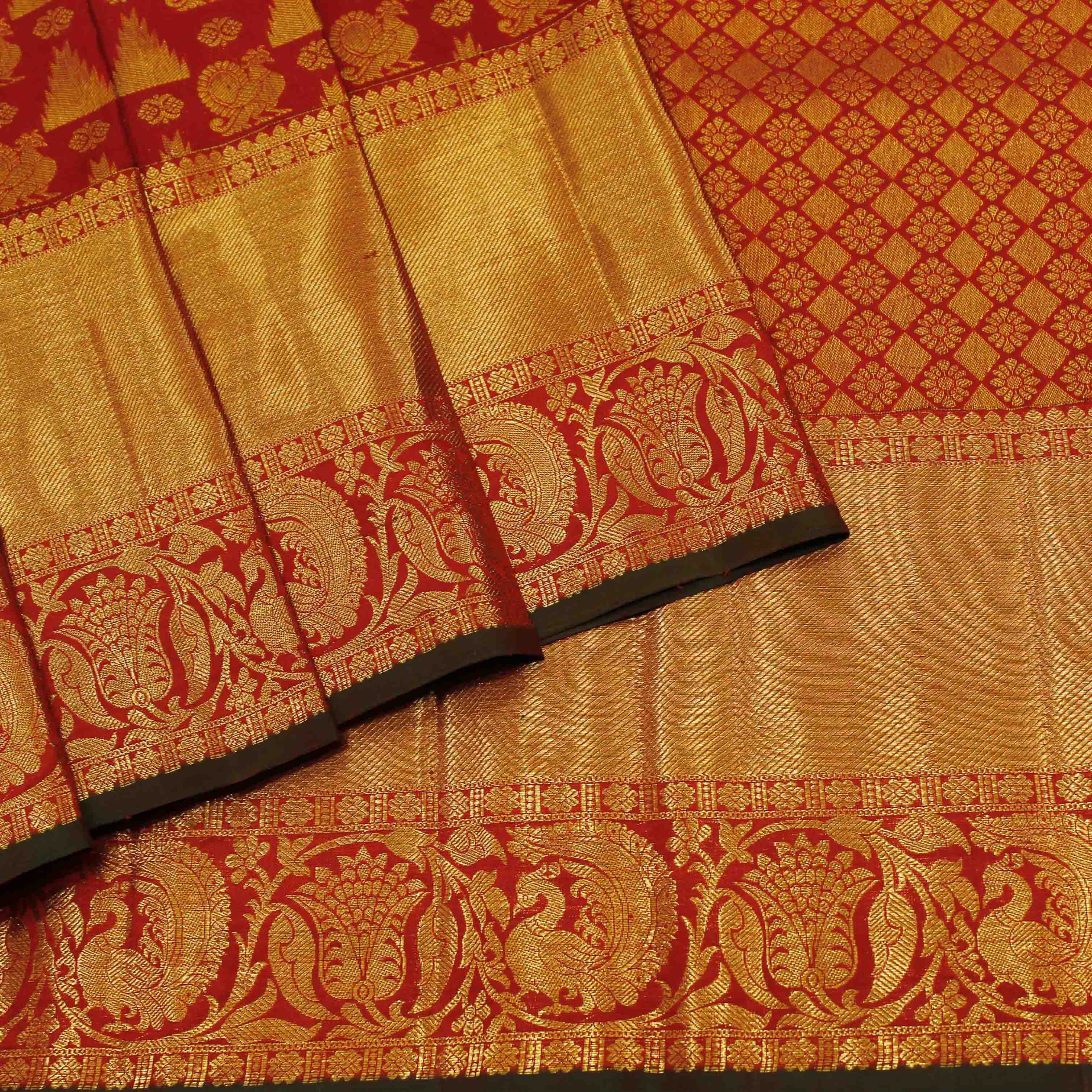 Pure Red And Green Silk With Golden Jari