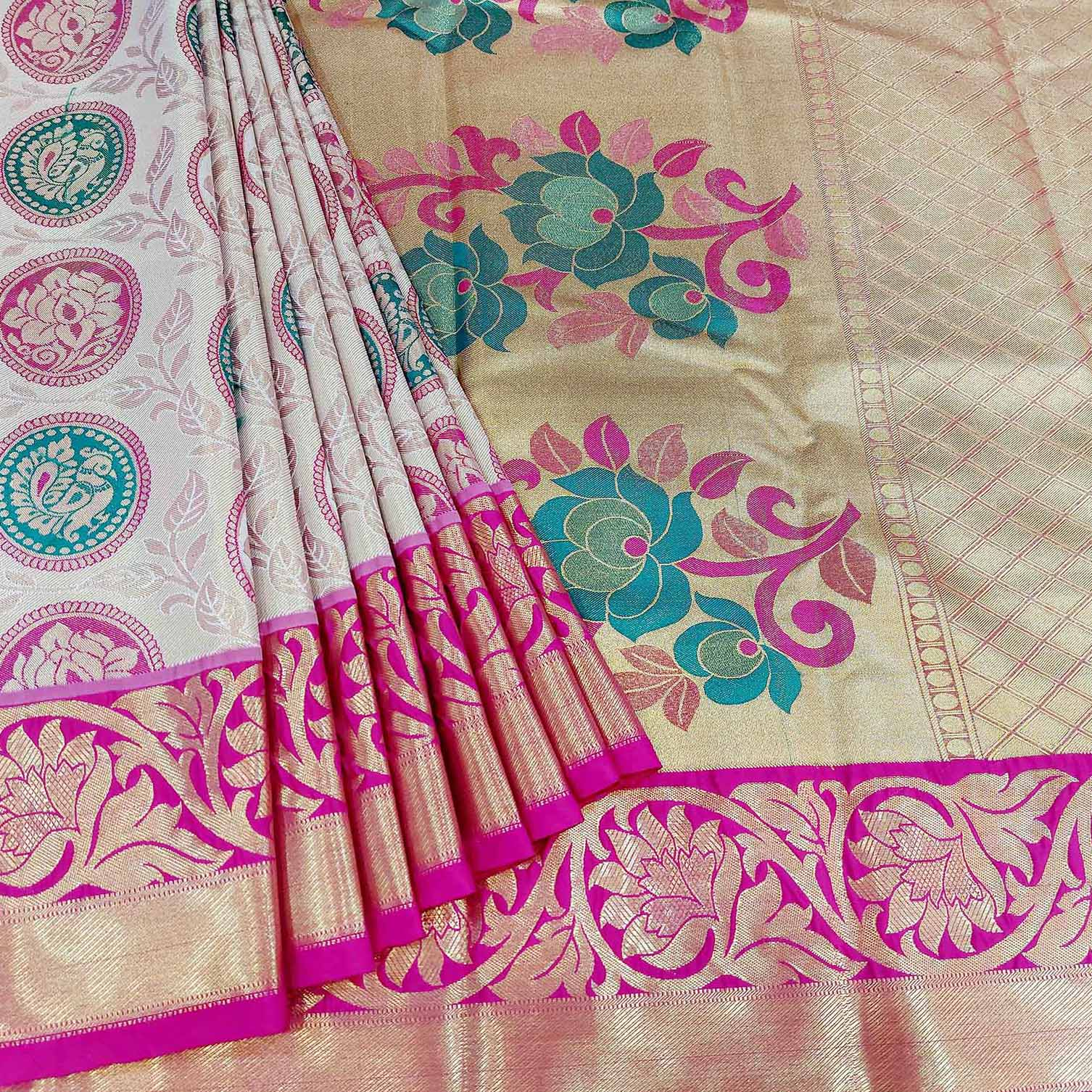 Mixture Of Pearl White And Pink Art Silk