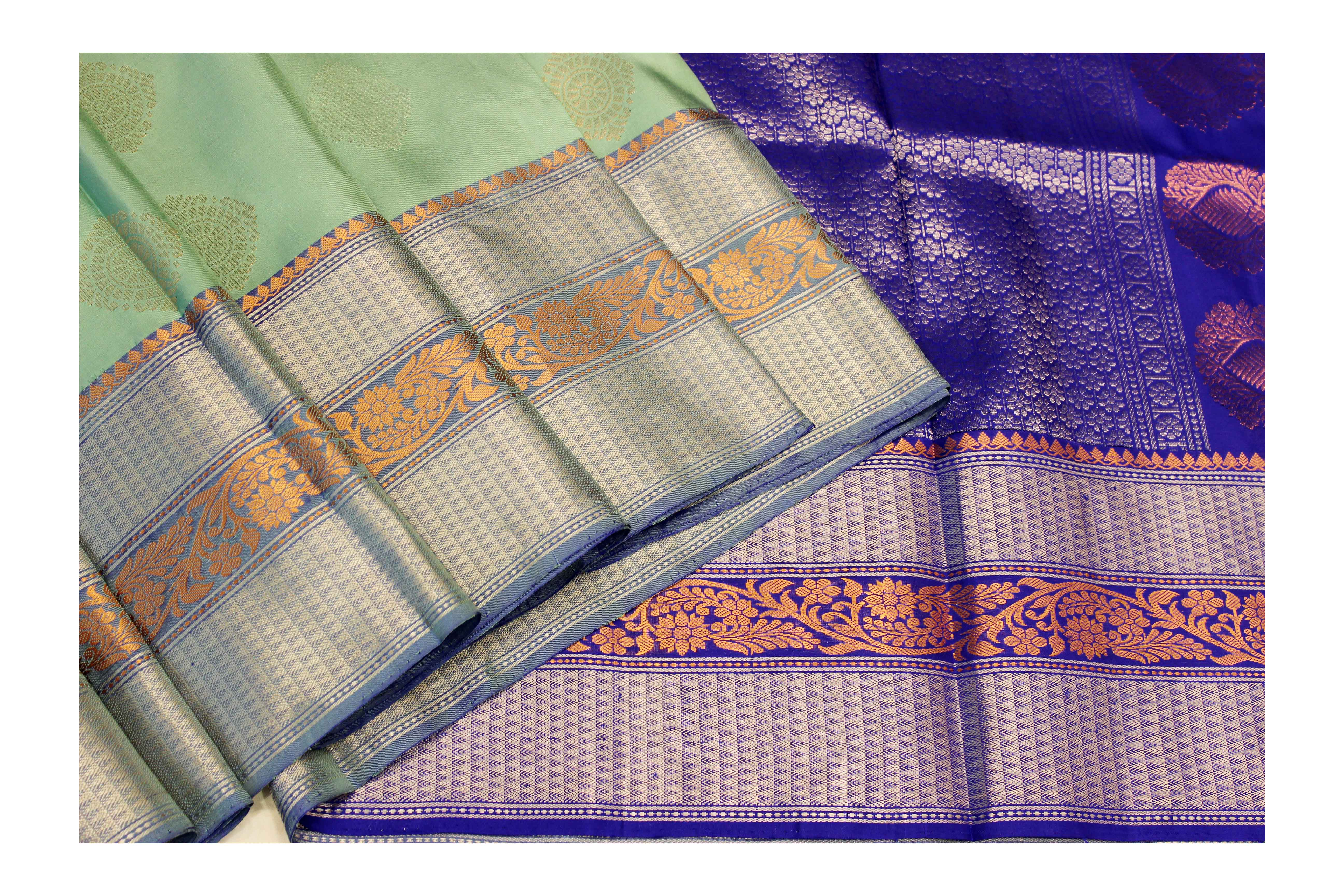 Mixture of green and violet silk with golden Jari