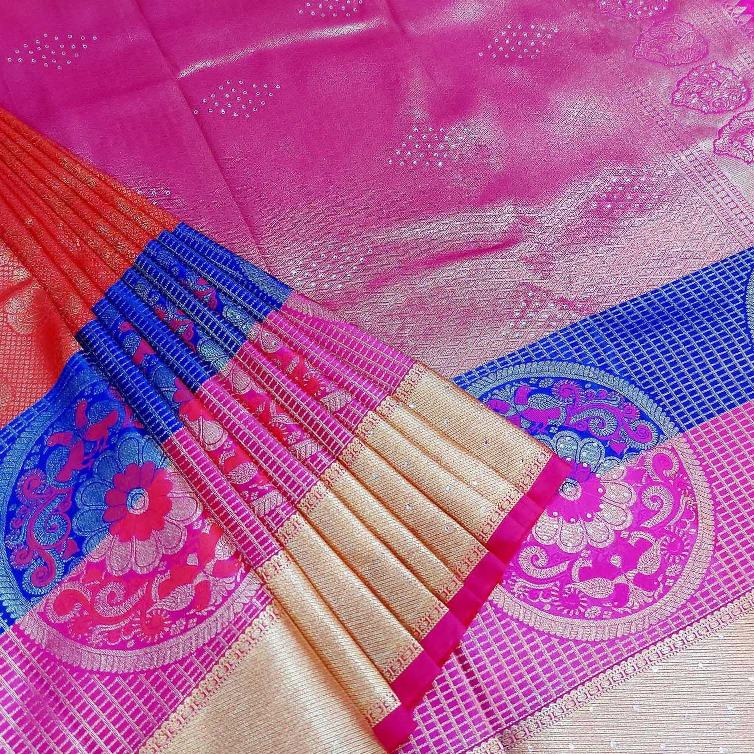 Mixture of pink, blue and peach art silk saree.