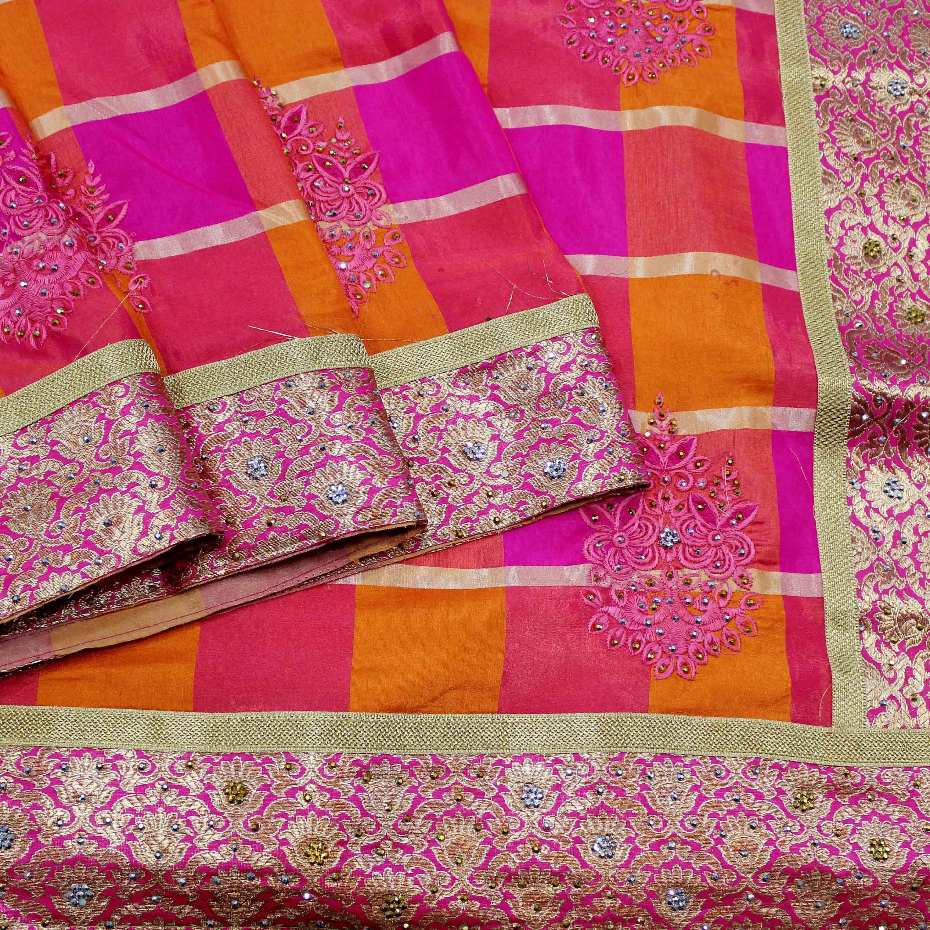 Mixture Of Orange And Pink Fancy Silk