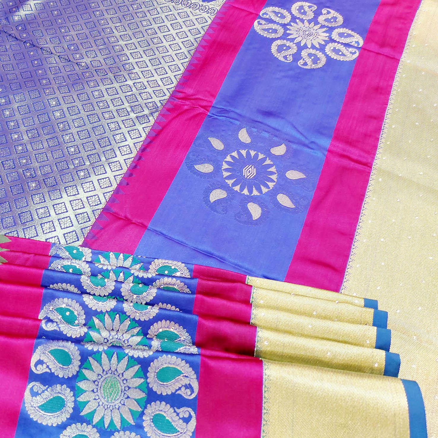 Mixture of blue, pink and green art silk saree