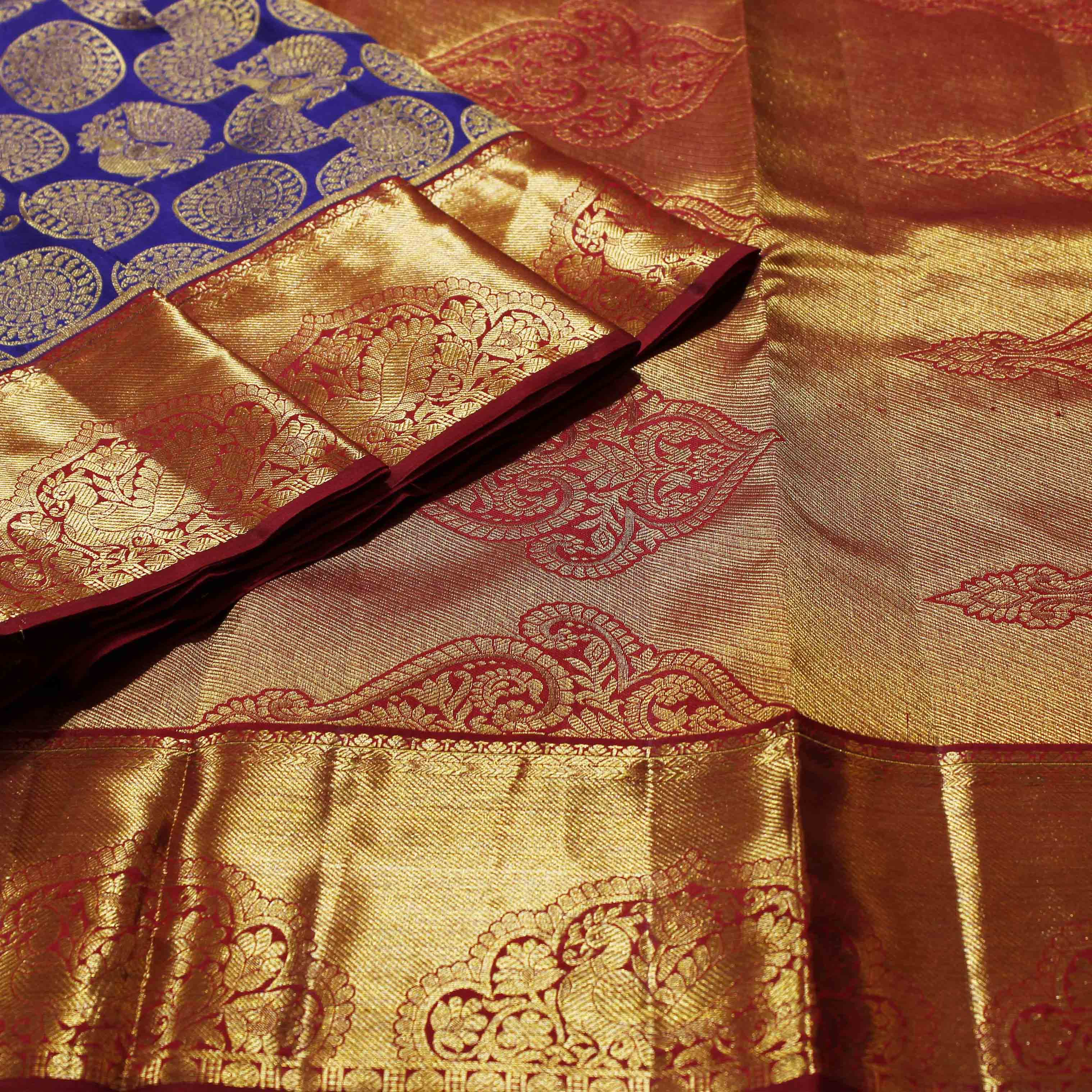Pure Blue And Maroon Silk With Golden Jari