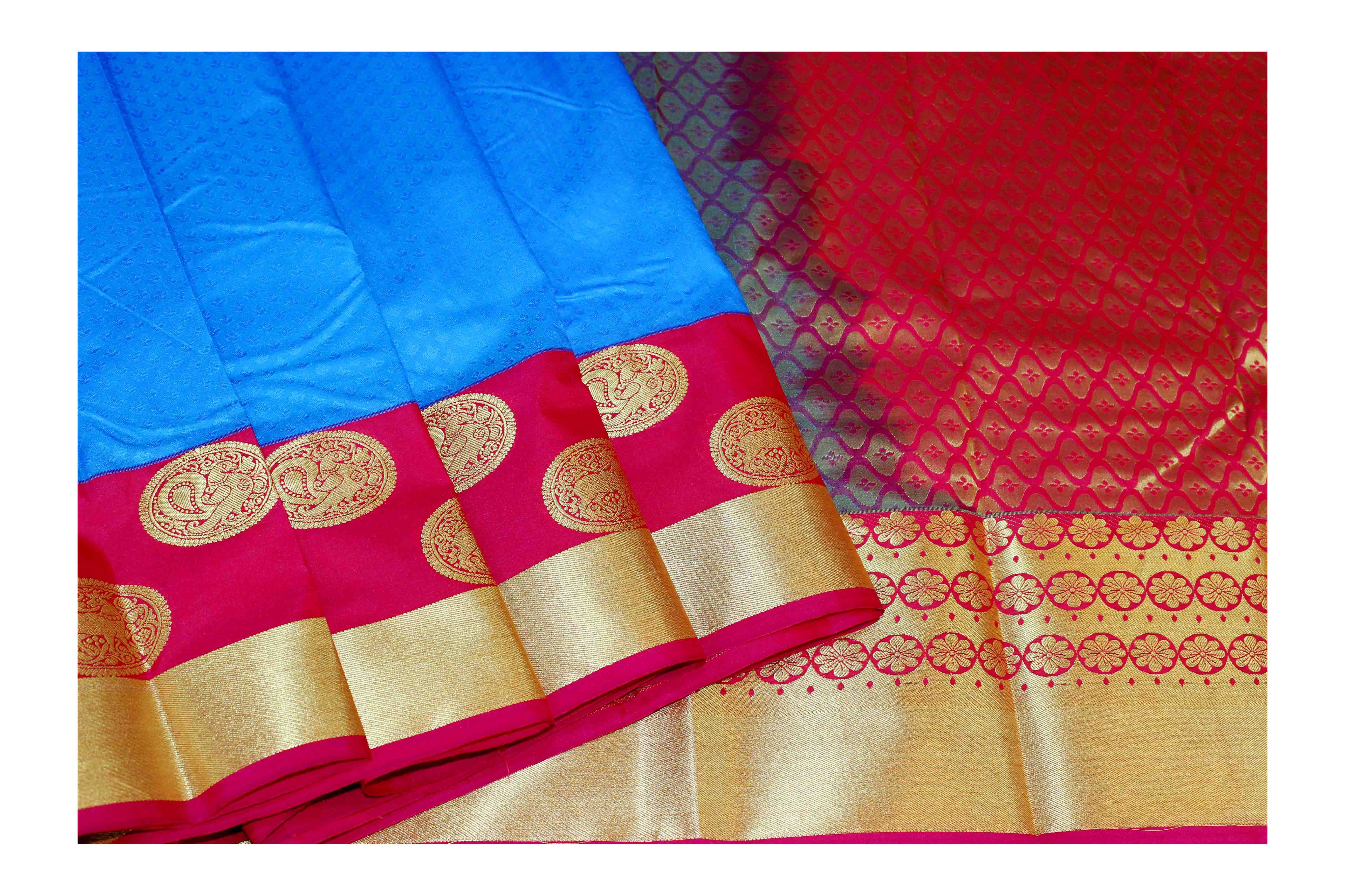 Mixture of  blue and red silk with golden border