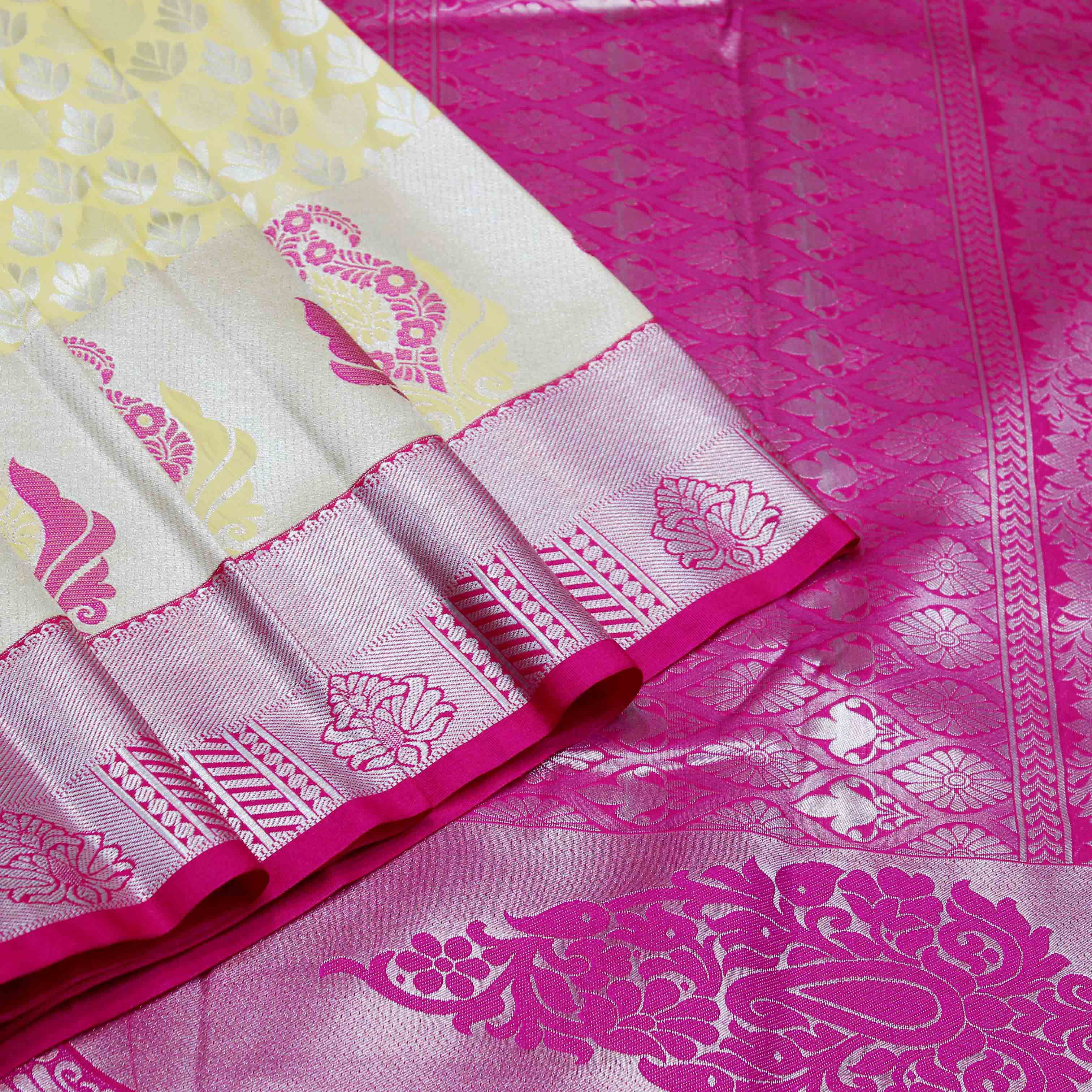Mixture Of Yellow And Pink Silk With Silver Jari