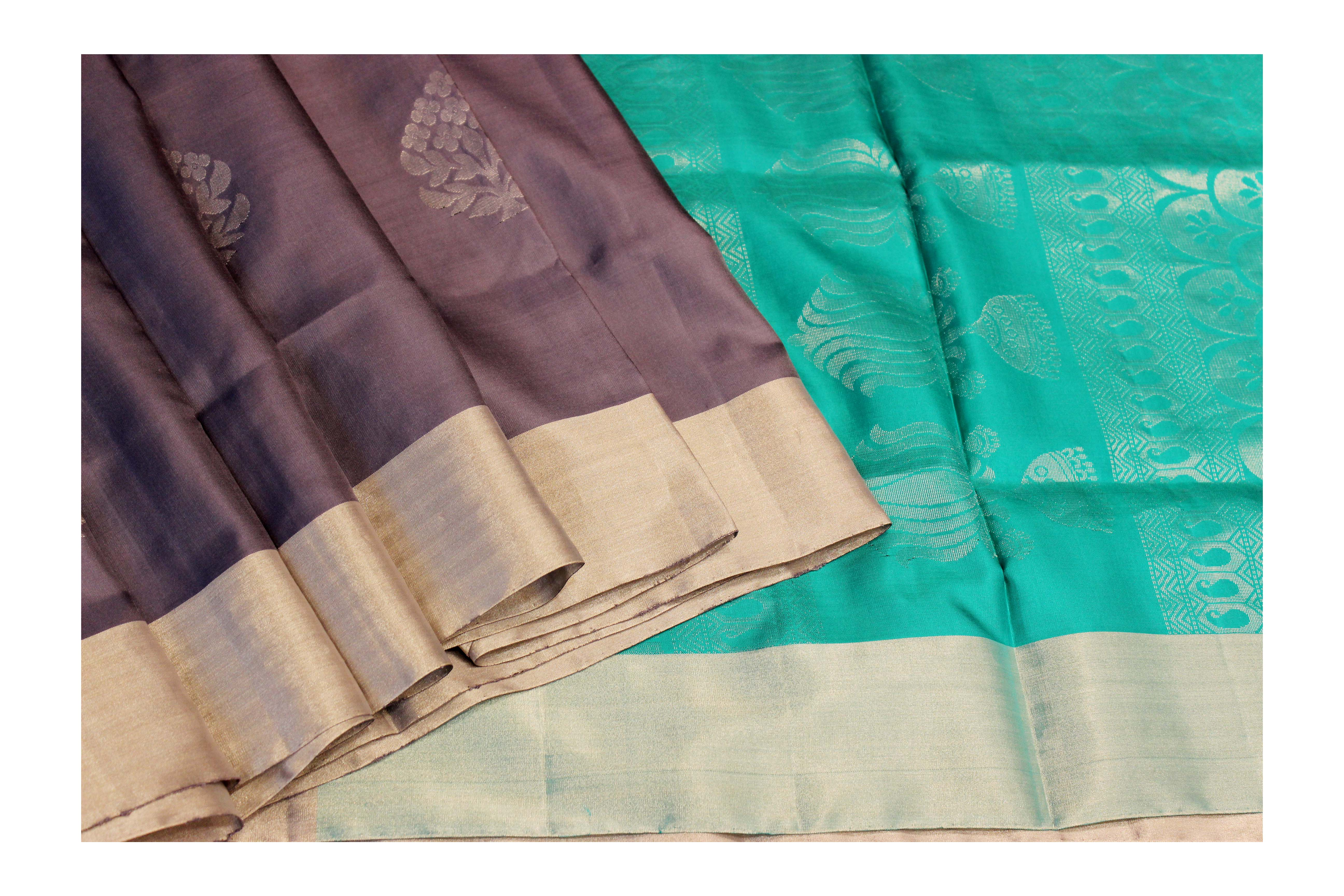 Mixture Of Brown And Green Silk With Silver Jari