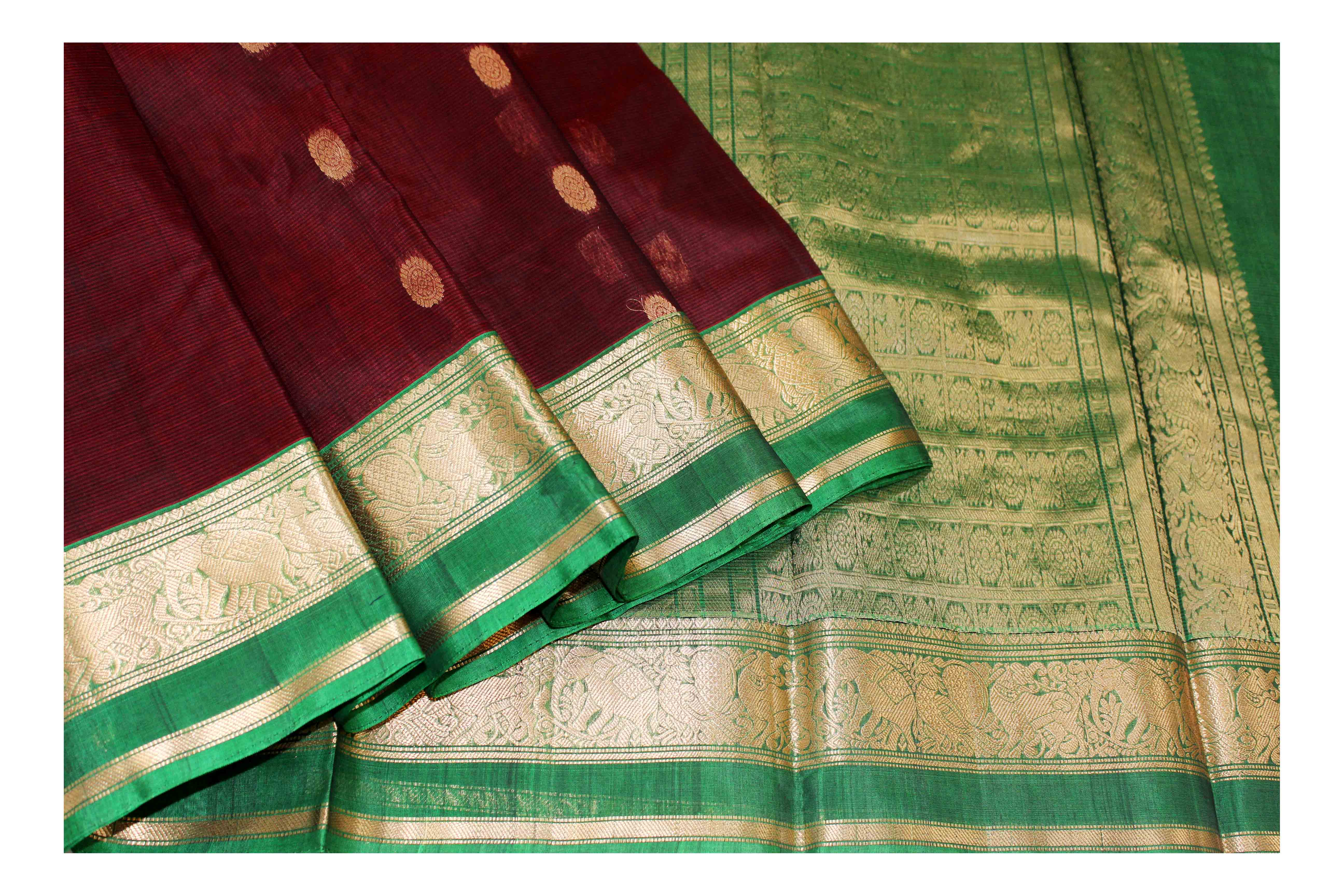 Mixture of red with green silk with golden jari