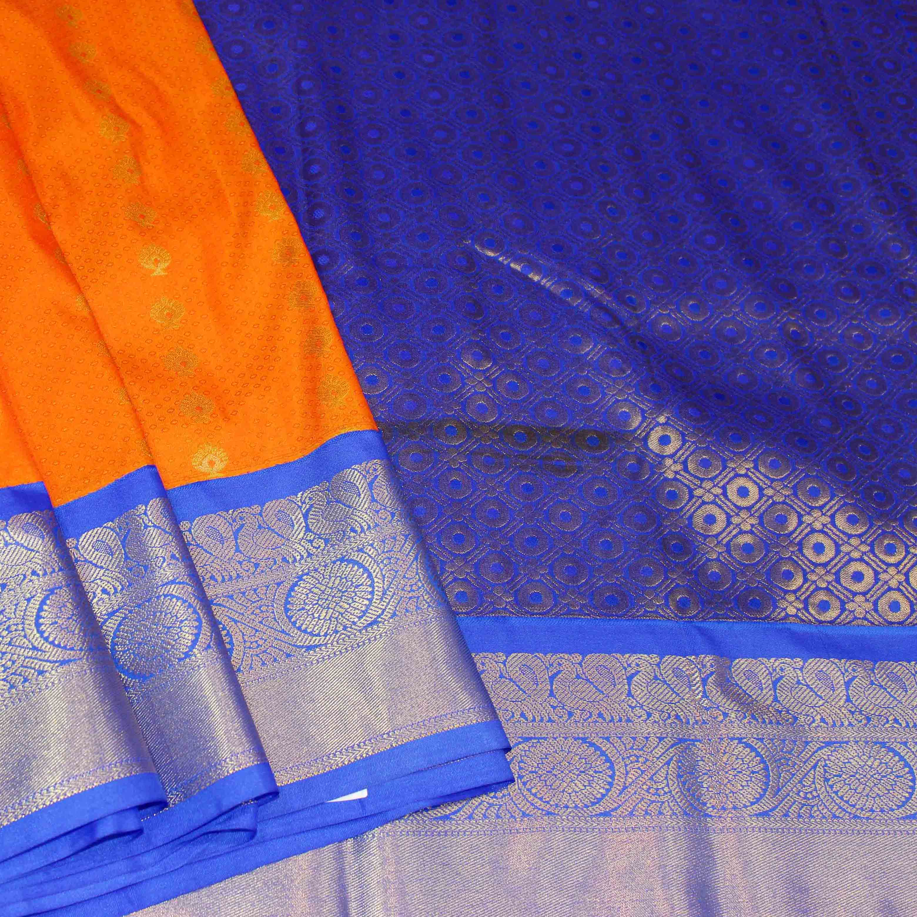 Mixture of orange and blue silk with silver jari